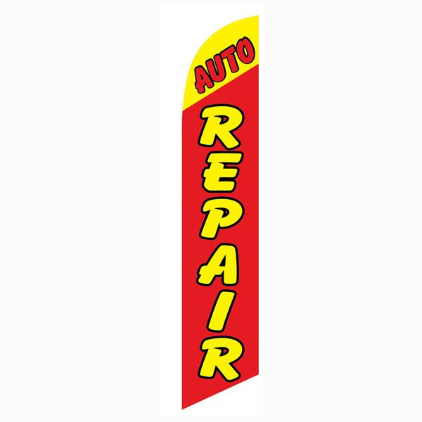 Red and Yellow Auto Repair Outdoor Advertising Feather Banner Flag