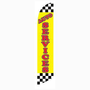Checkered Yellow Auto Services Outdoor Advertising Feather Banner Flag