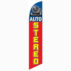 Blue Auto Stereo Outdoor Advertising Feather Banner Flag