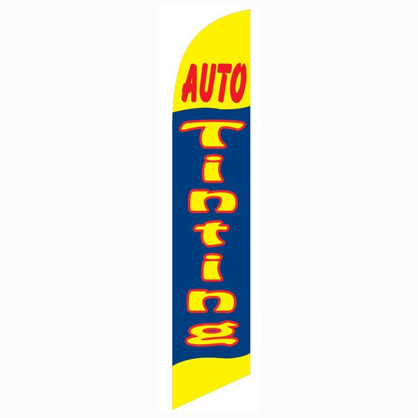 Auto tinting (yellow and blue) Outdoor Advertising Feather Banner Flag