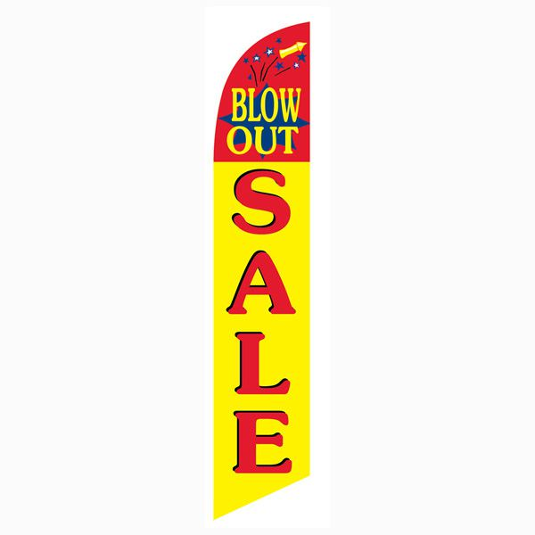Blowout Sale feather flag for your outdoor advertising campaign.