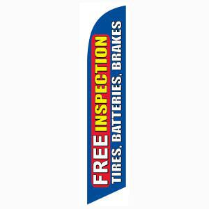 Blue Free Inspection Tires Batteries Brakes Outdoor Advertising Feather Banner Flag