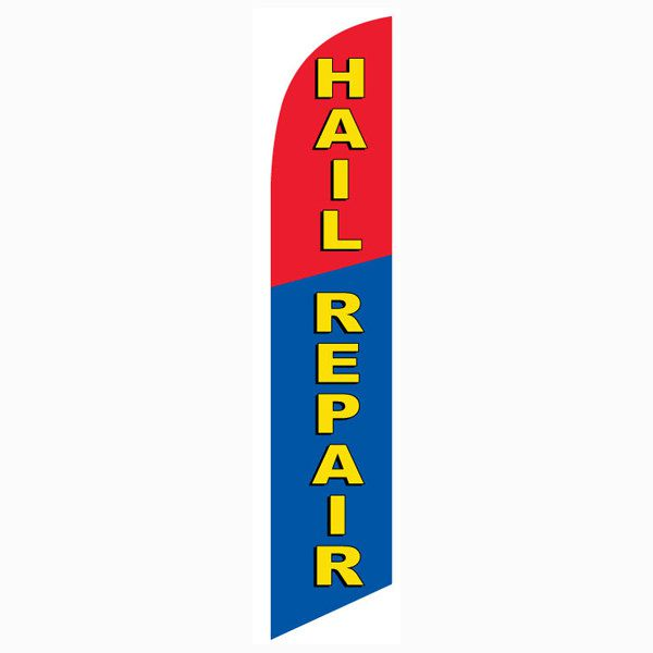 Blue and Red Hail Repair Outdoor Advertising Feather Banner Flag