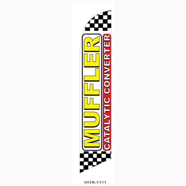 Checkered Muffler Catalytic Converter Outdoor Advertising Feather Banner Flag
