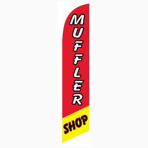 Red and Yellow Muffler Shop Outdoor Advertising Feather Banner Flag