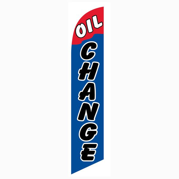 Red and Blue Oil Change Outdoor Advertising Feather Banner Flag