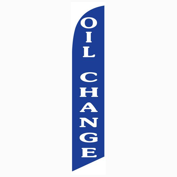 Blue Oil Change Outdoor Advertising Feather Banner Flag