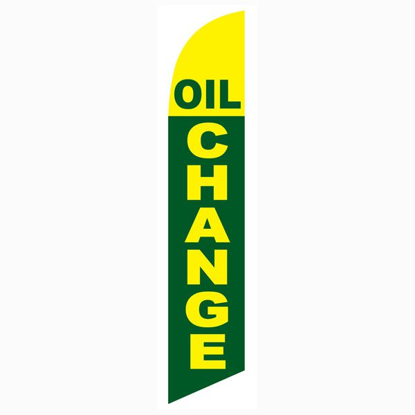 Green and Yellow Oil Change Outdoor Advertising Feather Banner Flag