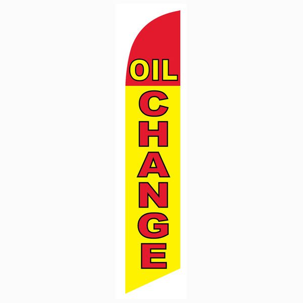 Yellow and Red Oil Change Outdoor Advertising Feather Banner Flag
