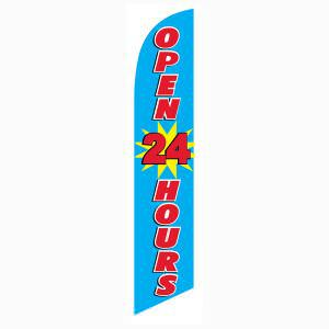 Open all day and night?  Buy this blue open 24 hours feather flag.