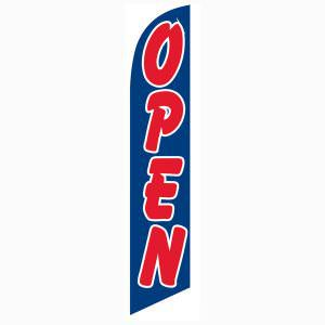 Our blue open flag is the perfect outdoor décor for new businesses.