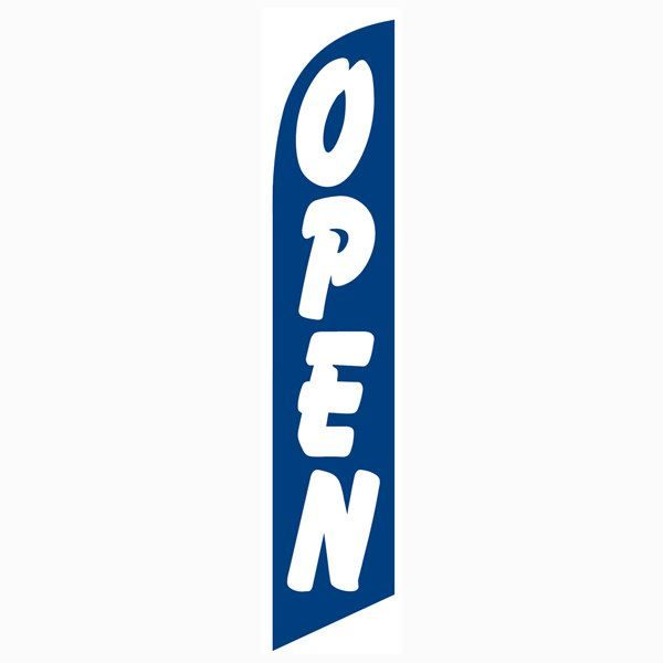 This blue open feather flag increases sales and foot traffic.