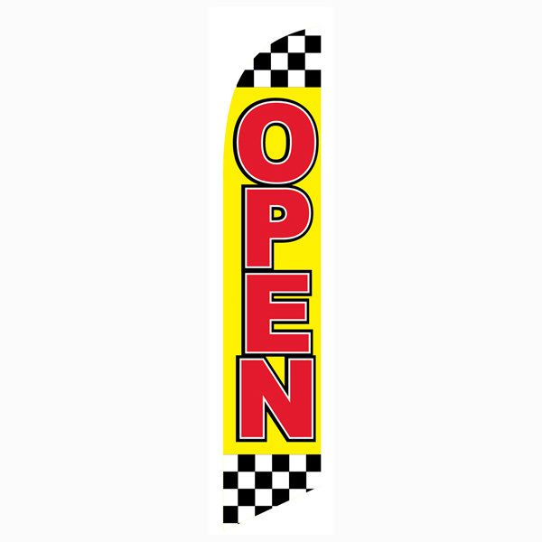 Checkered open feather flag can be used at all racing and sporting events.