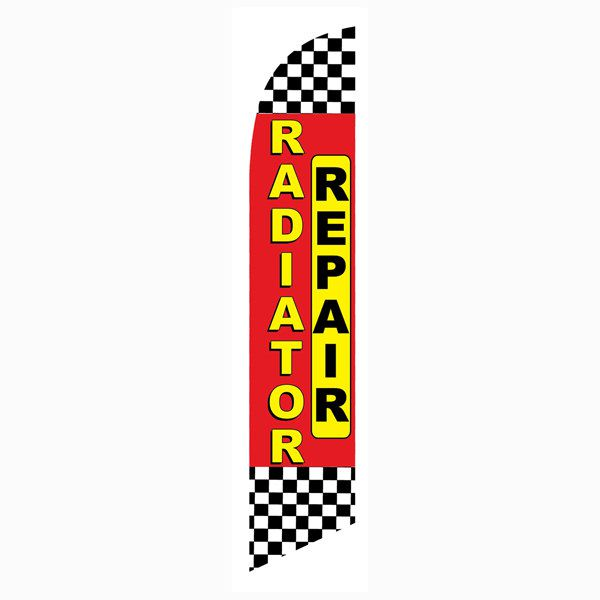 Red Checkered Radiator Repair Outdoor Advertising Feather Banner Flag