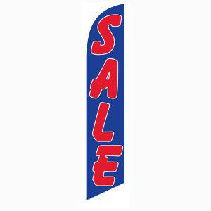 Blue and Red Sale Feather Flag for longterm outdoor advertising.