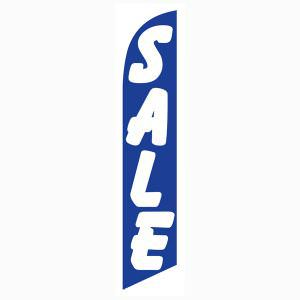 Blue and white sale feather flag for longterm outdoor advertising.