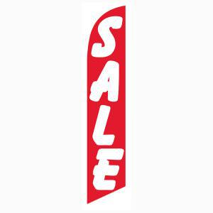 Red and white sale feather flag for longterm outdoor advertising.