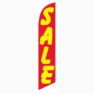 Red and yellow sale feather flag for longterm outdoor advertising.
