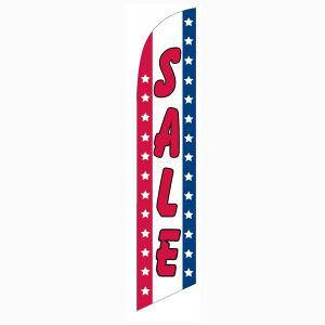 Patriotic sale feather flag for longterm outdoor advertising.