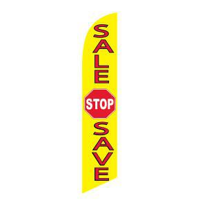 Sale stop save feather flag for longterm outdoor advertising.