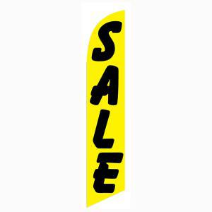 Yellow and black Sale feather flag for longterm outdoor advertising.
