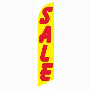 Yellow and red SALE feather flag for longterm outdoor advertising.