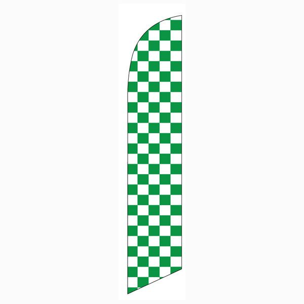 This green and white checkers flag will grab everyones attention outdoors.
