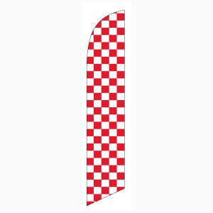 Our red and white checkers feather flag is popular among all sporting and racing events.