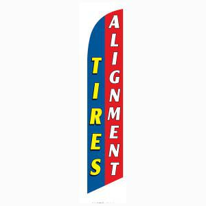 Blue and Red Tires Alignment Outdoor Advertising Feather Banner Flag