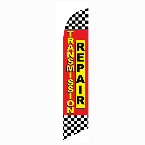 Red Checkered Transmission Repair Outdoor Advertising Feather Banner Flag