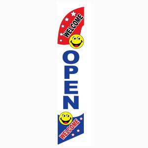 This welcome open feather flag creates a happy entrance to your businesses.