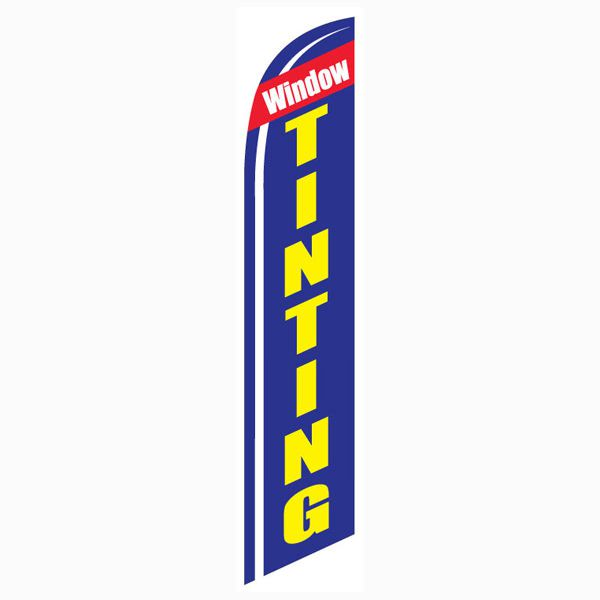 Blue Window Tinting Outdoor Advertising Feather Banner Flag