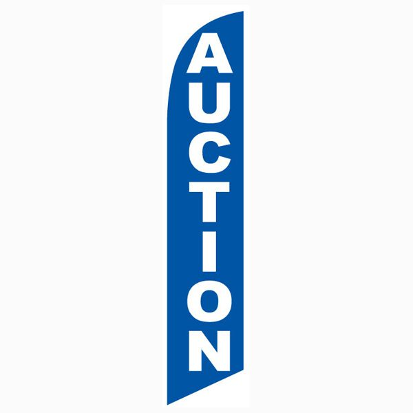 Use this blue Auction feather flag outside the entrance of your auction