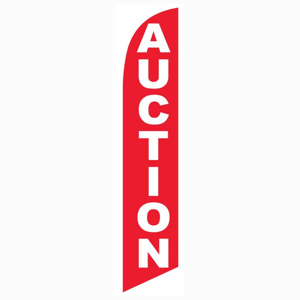This red Auction feather flag will bring more audience to your auction site