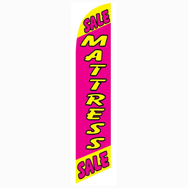 This Sale Mattress Sale feather flag has bright colors and can be seen from afar