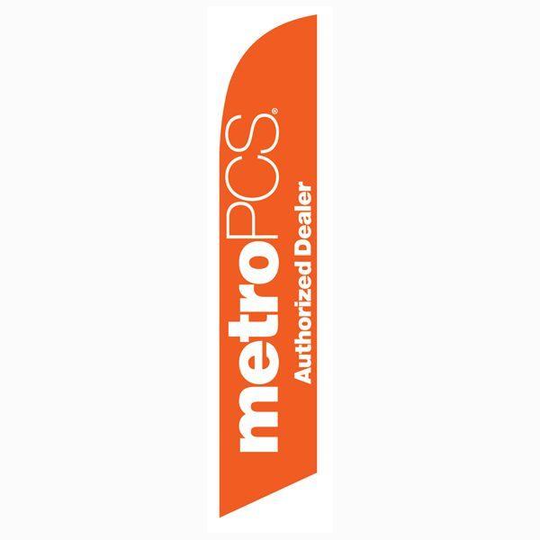 MetroPCS Authorized Dealer orange Feather Flag for quick outdoor advertising.