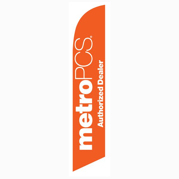 MetroPCS Authorized Dealer orange Feather Flag for quick outdoor advertising.