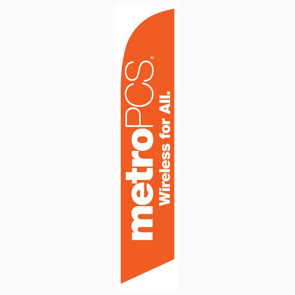 MetroPCS Wireless for All orange Feather Flag for all authorized dealers.