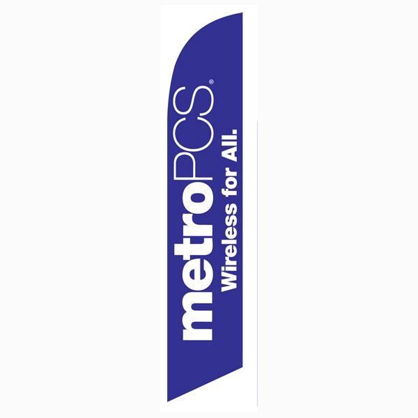 MetroPCS Wireless for All purple Feather Flag for your outdoor advertising.