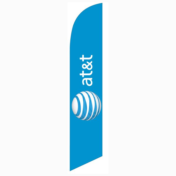 AT&T Wireless blue Feather Flag to use an an outdoor advertising banner.