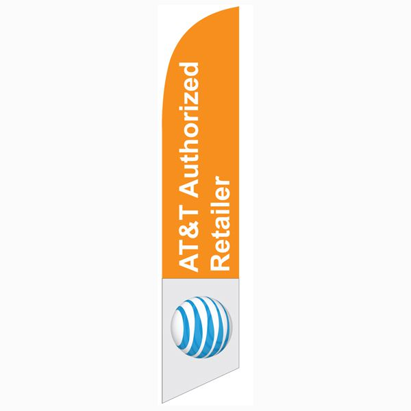 AT&T Authorized Retailer Feather Flag for all authorized dealers to use outdoors.