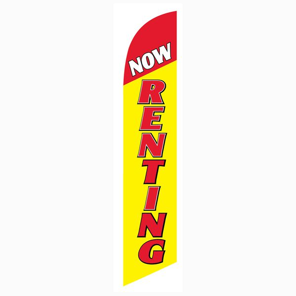 This yellow now renting  feather flag will get your empty units filled quickly