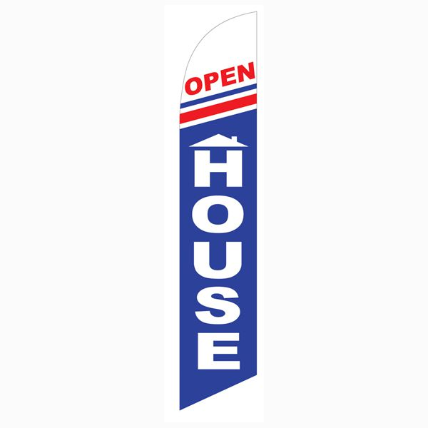 Our blue and red Open House feather flag is great for a location marker