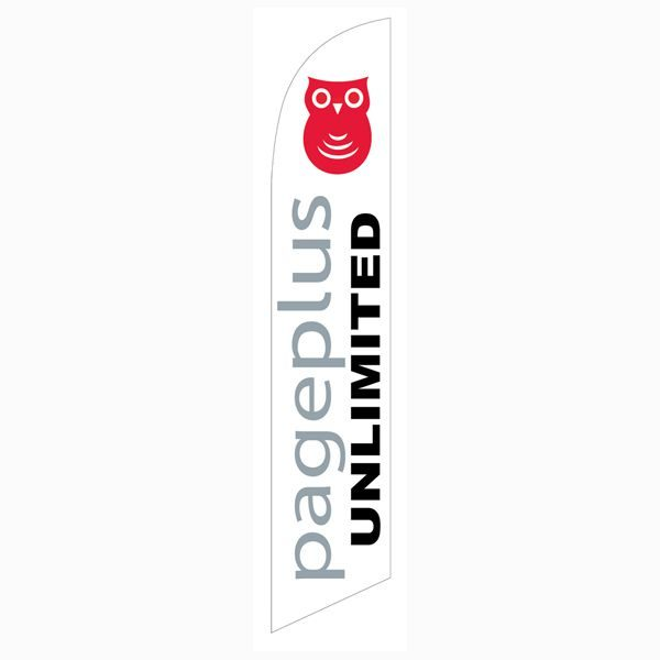 Pageplus Wireless Feather Flag is used as an outdoor advertising tool.