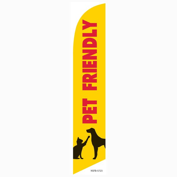 Use this Pet Friendly feather flag to let anyone passing by know you okay with pets