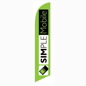 Simplemobile wireless lime Feather Flag for authorized dealers to use outdoors.