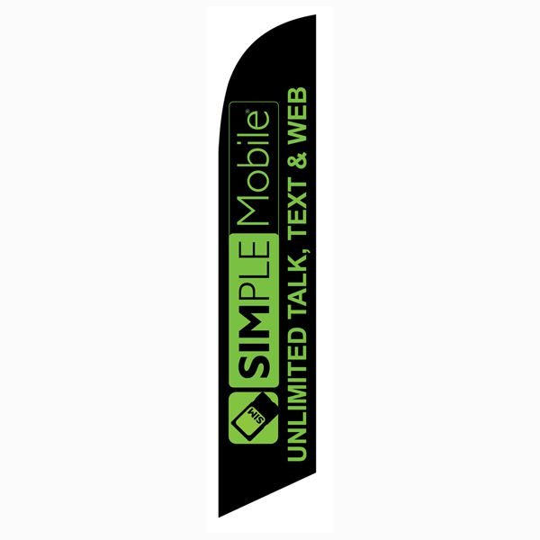 Simplemobile Wireless Unlimited Talk Text Web Feather Flag for outdoor advertising purposes.