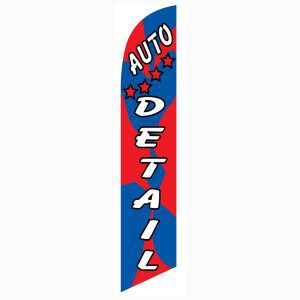 Outdoor advertising Red blue Auto detail feather flag.  Easy to install.