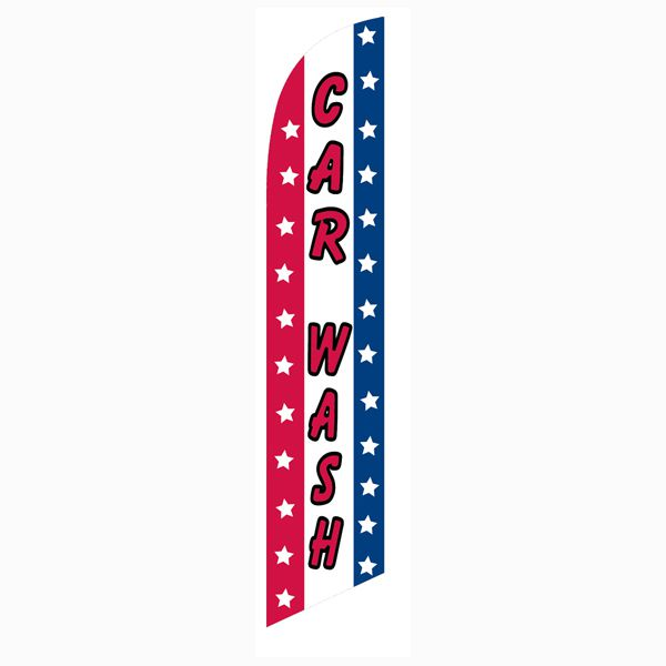 Patriotic Car wash feather flag for your outdoor advertising use