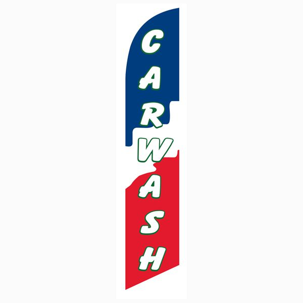 High quality polyester outdoor use red blue Car wash banner flag.  Buy now!